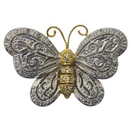 14K Yellow and White Gold Diamond Butterfly Brooch
