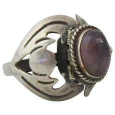 Sterling Silver Amethyst Mexican Modernist Hinged Poison Adjustable Ring