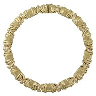 14K Gold Italian Chunky Frosted 1980s Choker Necklace 63.7 Grams
