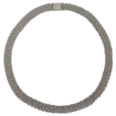 14K White Gold Lace Necklace 23 Grams