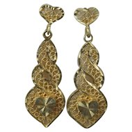 14 K Gold Heart Filigree Earring Set by Oroamerica