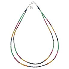 Signed 14K White Gold Double Strand Ruby Sapphire Multi color Gemstone Necklace