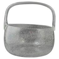 Signed Nuutajarvi Notsjo 1960s-1970s Modernist Finland Sargasso Clear Glass Basket