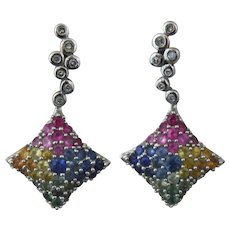 14K White Gold Multicolor Sapphire and Diamond Earring Set