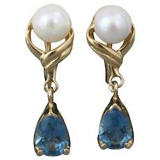 14K Gold Cultured Pearl and Blue Topaz Teardrop Screwback Earrings