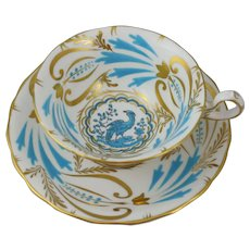 Royal Chelsea Bone China Exotic Bird Turquoise and Gold Tea Cup and Saucer Set