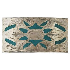 Plata de Jalisco Sterling Silver 925 Turquoise Chip Inlay Belt Buckle V.H.L.C.