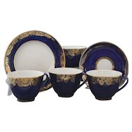Set of 4 Cobalt Blue and Gold Lomonosov Porcelain Trio With Cup Saucer and Dessert Plate