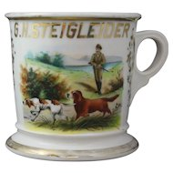 Antique Limoges Occupational Shaving Mug Vibrant Koken St. Louis with Hunting Scene