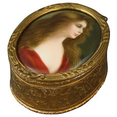 Antique Bronze French Trinket Box With Handpainted Signed Porcelain Portrait Plaque