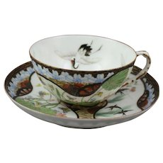 High Quality Meiji or Taisho Porcelain Cup and Saucer With Hand Painted Birds Butterflies and Flowers