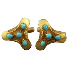 14K Gold Mesh Cufflinks With Round and Teardrop Turquoise Cabochons