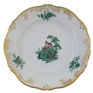 "Meissen Green Watteau Courting Scene 6"" Plate (1 of 4)"
