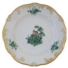 """Meissen Green Watteau Courting Scene 6"""" Plate (1 of 4)"""