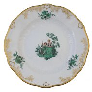 "Meissen Green Watteau Courting Scene 6"" Plate (2 of 4)"