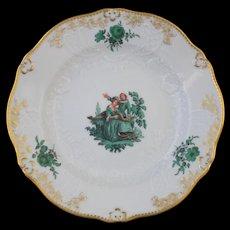 """Meissen Green Watteau Courting Scene 6"""" Plate (4 of 4)"""
