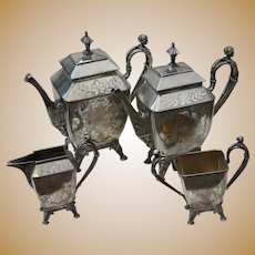 Antique Victorian Aesthetic Silverplate Tea Set with Figural Handles and Etched Leaves Meriden 1886