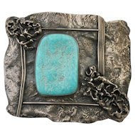 Sterling Silver Modernist Design Southwest Belt Buckle with Large Turquoise