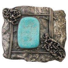 Sterling Silver Modernist Design Southwest Belt Buckle with Large Turquoise