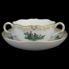 Meissen Green Watteau Courting Scene Soup Bouillon Bowl and Saucer (2 of 4)