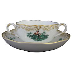 Meissen Green Watteau Courting Scene Soup Bouillon Bowl and Saucer (4 of 4)