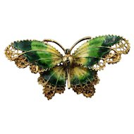 14K Yellow Gold Filigree Green Enamel Butterfly Brooch