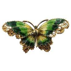 14K Yellow Gold Filigree Green Enamel Butterfly Brooch