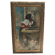 Exceptional Unsigned Oil on Board Painting, Copy of Roman Girl at a Fountain by Leon Bonnat