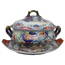 Antique c1820s Spode Polychrome Imari Pattern 3875 Soup Tureen Cover with Underplate