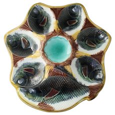 Antique Majolica Fish Motif Oyster Plate With Cracker Well