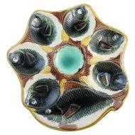 Antique Fish Motif Majolica Oyster Plate With Cracker Well Multicolor
