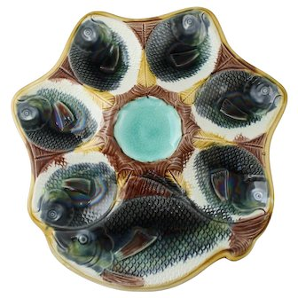 Antique Fish Motif Majolica Oyster Plate with Cracker Well, Iridescent Multicolor