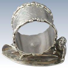 "Antique Wilcox Silverplate Napkin Ring #4376 ""Best Wishes"" with Wingless Cherub and Wishbone"