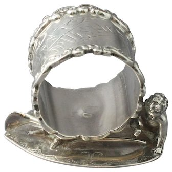 "Antique Wilcox Silverplate Napkin Ring #4376 ""Best Wishes"" with Wingless Cherub and Wishbone"