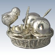 Antique Mappin & Webb Figural Silverplate Chick and Egg Cruet Basket