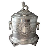 Antique Lee & Wigfull Hinged Silverplate Biscuit Barrel With Lion Finial