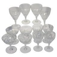 Set of 12 Vintage Val St. Lambert Riviera Clear Wine Water and Champagne Glasses