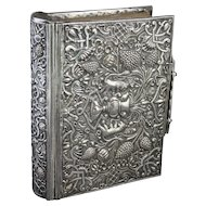Antique 1853 William PIckering Book of Common Prayer in Elaborate Embossed Silverplate Cover