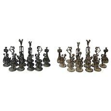 Aharon Bezalel Vintage Modernist Sterling Silver Judaica Chess Set