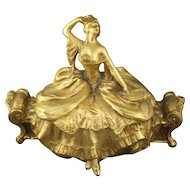 Antique Weidlich Bros Ornate Gilt Metal Jewelry Casket Lady On Settee