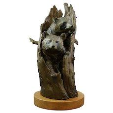 """Clark Bronson Bronze Raccoon Sculpture """"Watching the Neighbors"""" 34/75 c1979"""
