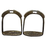 Pair Antique Tibetan Chinese Iron Silver Foo Bat Inlay Stirrup