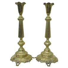 Pair Fraget Judaica Polish Brass Silverplate Tulip Grapevine Candlesticks
