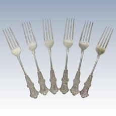 """Set of 6 Antique Whiting Manufacturing Co Sterling Alhambra 7 5/8"""" Forks"""