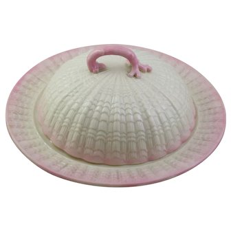 Belleek Tridacna Pink Muffin Cover Dish Set With 2nd Black Mark