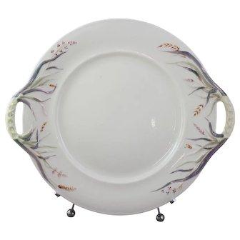 Belleek Grass Cake Plate Platter With 1st Black Mark