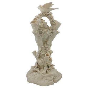 Belleek Bird Nest Stump Vase With 2nd Black Mark