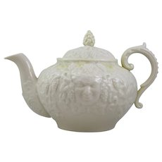 Belleek Bacchus Mask Teapot With Third Black Mark and Yellow Tint Lustre