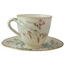 Belleek Cup and Saucer Set in the Grass Pattern with 1st Black Mark and Gold Trim