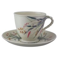 Belleek Grass Cup and Saucer Set In Ivory with 1st Black Mark